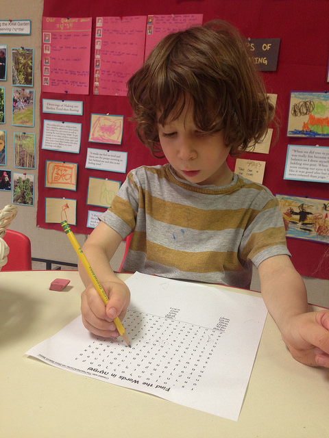A four year old works on a שמיטה (Sh'mitah) word search in Hebrew!