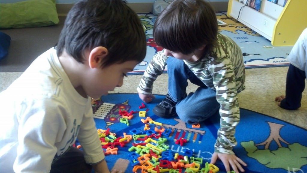 A Shorashimer and Shteelimer pair up to play an Aleph-Beit matching game.
