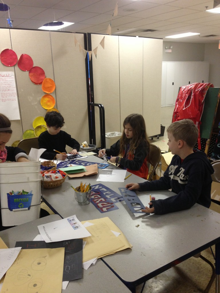 Anafimers work on decorated using the materials from our recycling bin!
