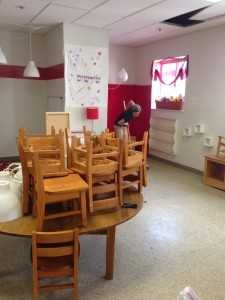 Cleaning out Shorashim in preparation for camp.