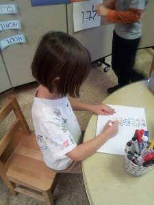 A kindergartener writes the  צבעים (tzevaim—colors) with a טוש (tush-marker) of that צבע (tzeva—color).