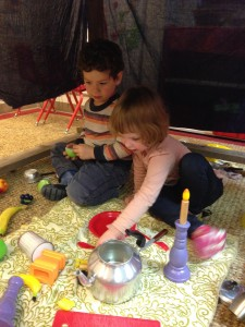 Celebrating in our Sukkah!