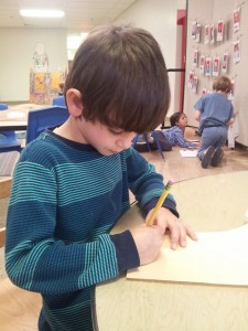 This first grader showed an interest in cursive Ivrit and worked with his מורה (morah--teacher) on writing his שם (shem--name) in cursive.