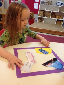 A child creates a scene of pictures that describe her הלל moments