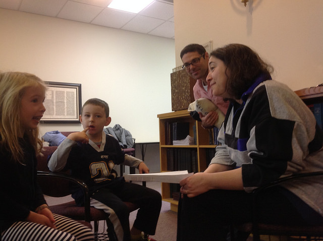A first and second grader conduct Hallel research.