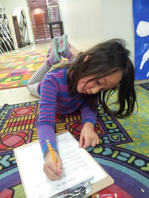 A first grade poet at work.