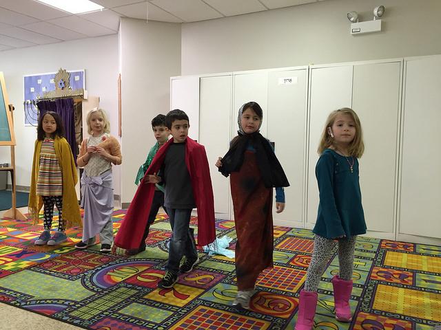 From left: Queen Esther, Queen Vashti/Haman, King Achashverosh, Mordechai, Haman's wife, and a backstage helper.