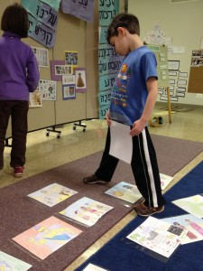 First, we laid out illustrations of the story in order while retelling.