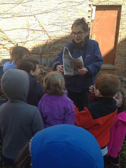 Nursery and kindergarten children learn about and help with the garden compost.