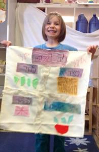 A Shteelimer holds up her Mah Nishtanah banner.