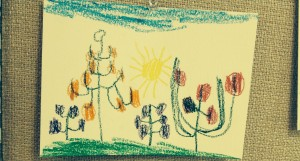 Another child drew wild and perennial fruits - orange trees, apple trees, and grape vines - for the Sh'mitah side of our chart.