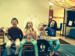 Silly while playing Mah Nishtanah Musical כיסאות (keesayot - chairs).