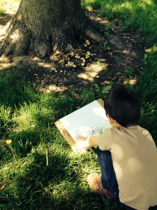 This 6 year old chose a cluster of mushrooms by a tree as the subject of his blind contour drawing.