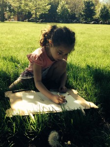 This 6 year old chose a dandelion as the subject of her blind contour drawing.