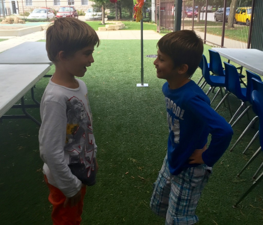 "Ya'akov (left) asks Lavan (right), ""Why did you trick me?"""