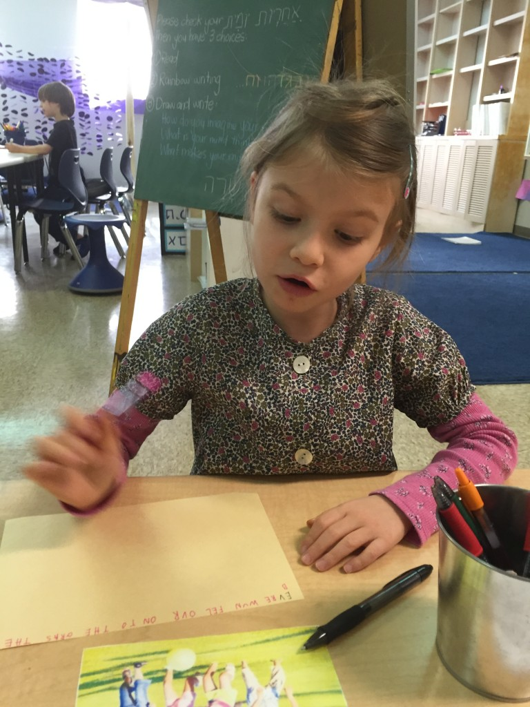 """""""I like to write what I think. Boy 1 likes to draw [what he thinks]."""""""
